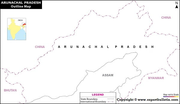 Blank / Outline Map of Arunachal Pradesh