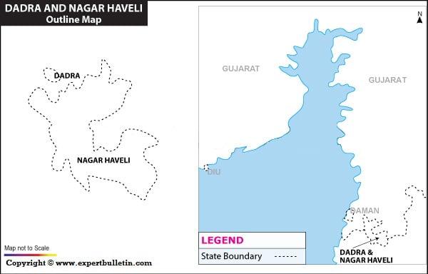 Blank / Outline Map of Dadra & Nagar Haveli