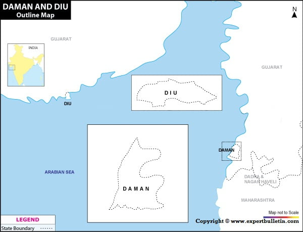 Blank / Outline Map of Daman & Diu
