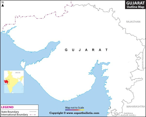 Blank / Outline Map of Gujarat
