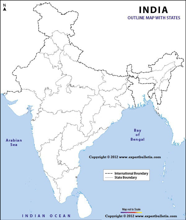 outline maps of india with states expert bulletin
