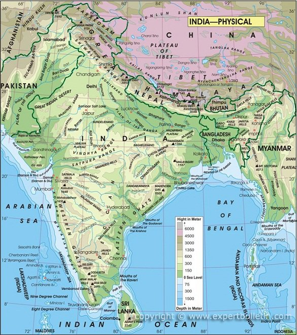 India physical map expert bulletin india physical map gumiabroncs Image collections