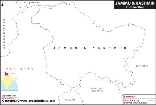 Blank / Outline Map of Jammu & Kashmir