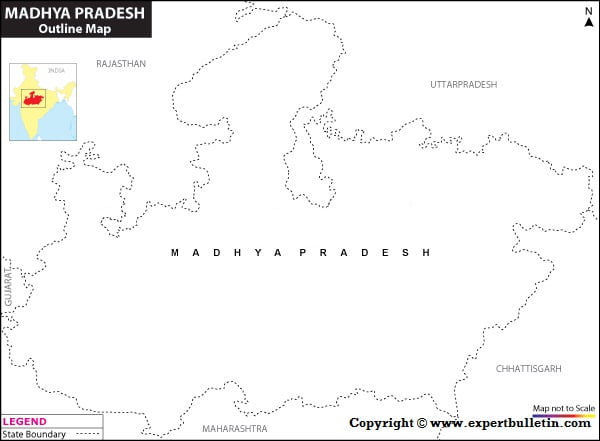 Blank / Outline Map of Madhya Pradesh