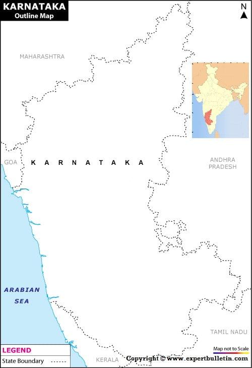 Blank / Outline Map of Karnataka