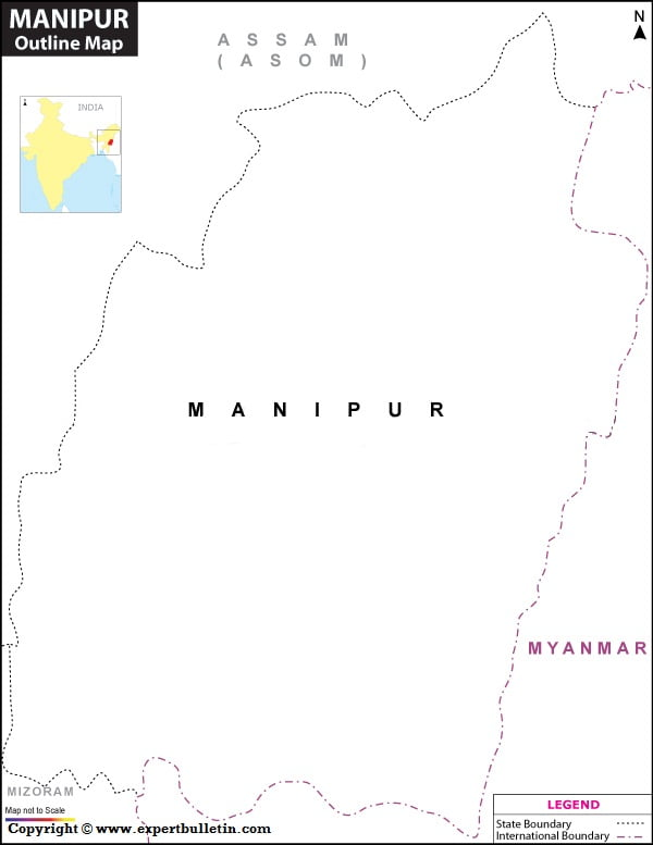 Blank / Outline Map of Manipur