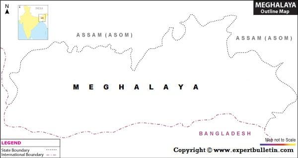 Blank / Outline Map of Meghalaya