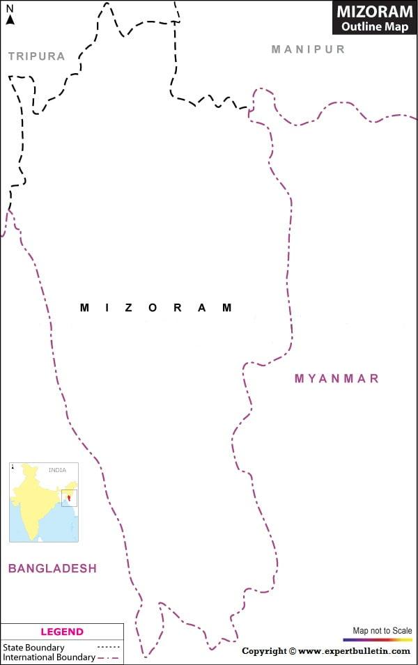 Blank / Outline Map of Mizoram