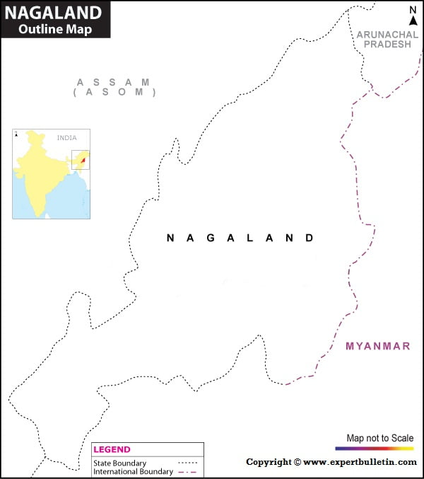 Blank / Outline Map of Nagaland