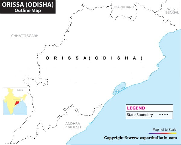 Blank / Outline Map of Orissa