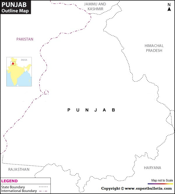 Blank / Outline Map of Punjab