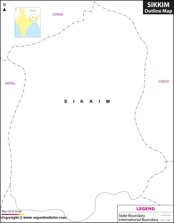 Blank / Outline Map of Sikkim