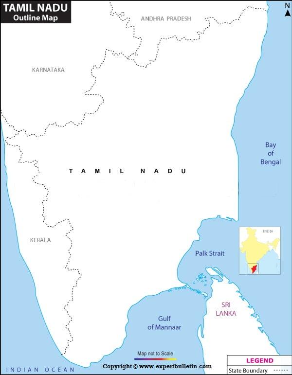 Blank / Outline Map of Tamilnadu