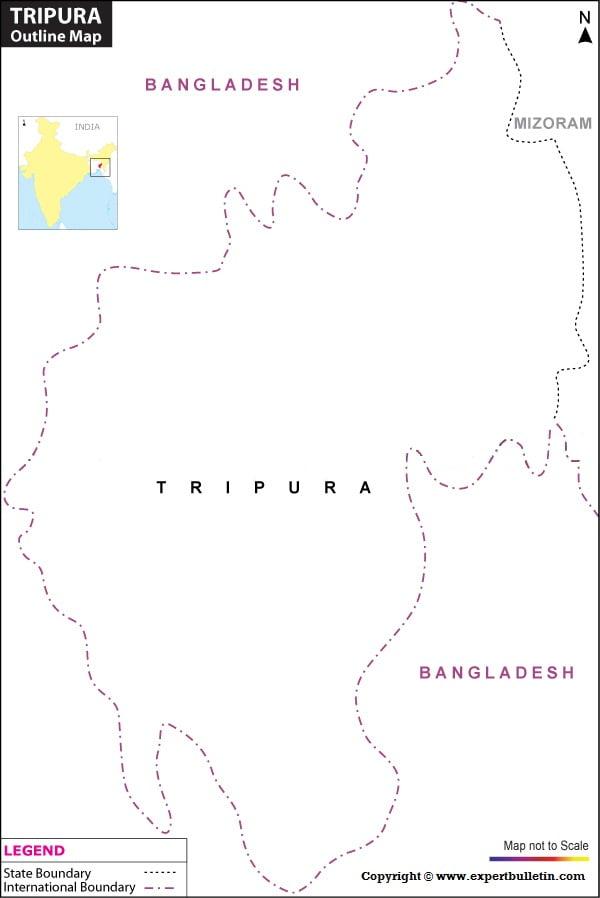 Blank / Outline Map of Tripura