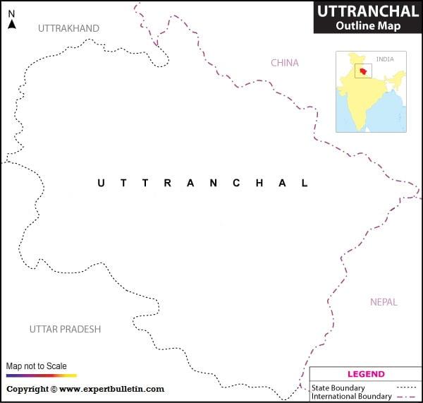 Blank / Outline Map of Uttaranchal/Uttarakhand
