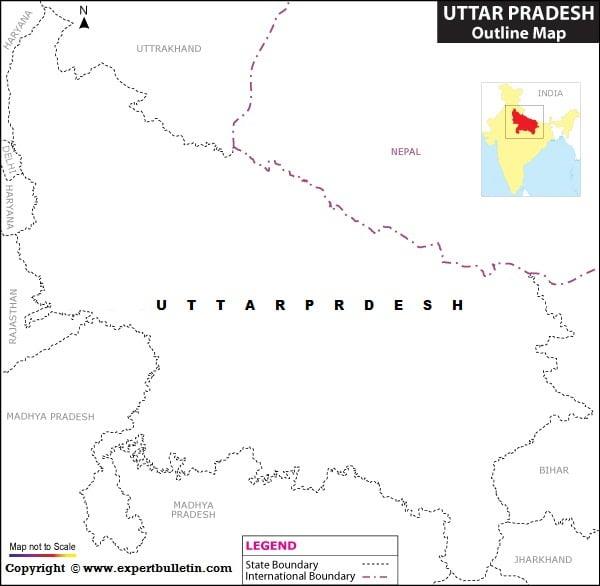 Blank / Outline Map of Uttar Pradesh