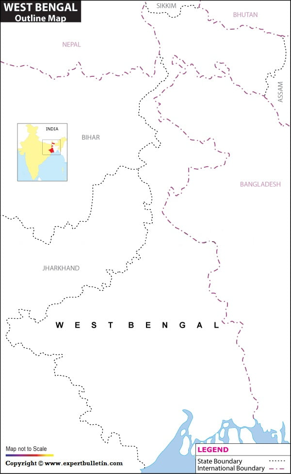 Blank / Outline Map of West Bengal