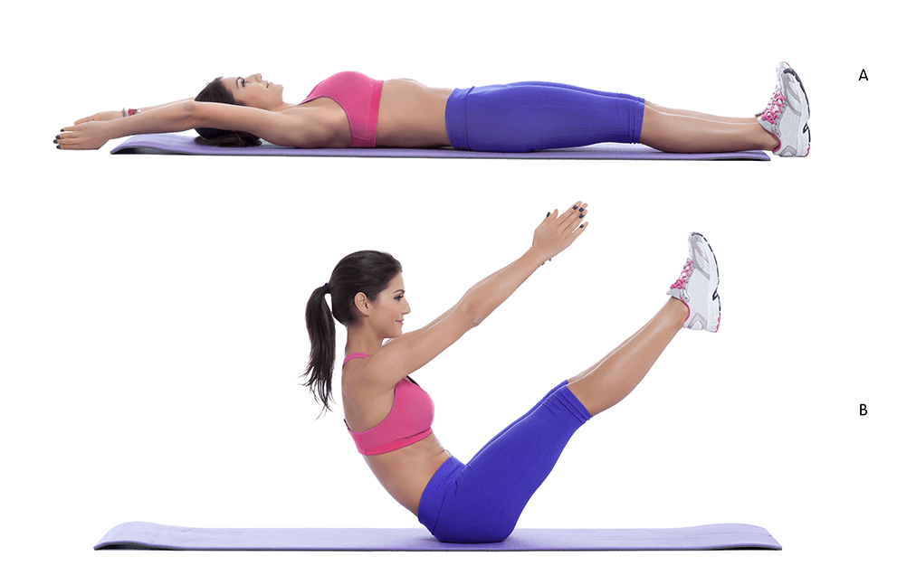 Jackknife Sit-ups for losing belly fat