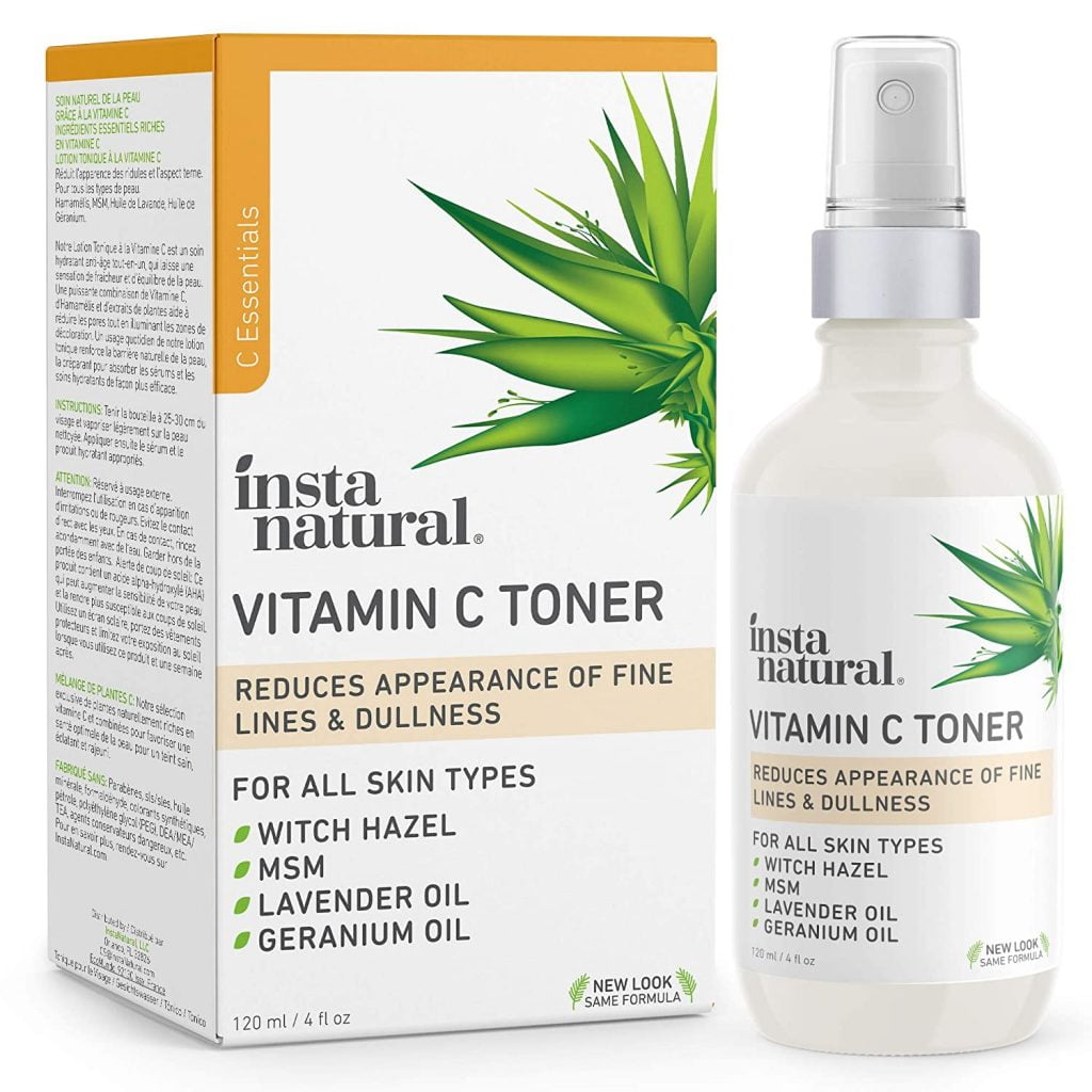 InstaNatural Vitamin C Facial Toner - Anti Aging Face Spray with Witch Hazel