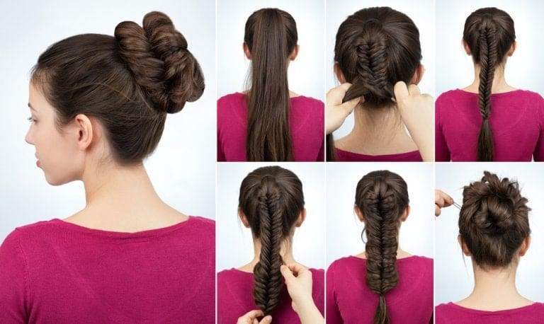 twisted bun with fish tail braid